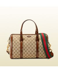 Gucci Lady Web Original Gg Canvas Boston Bag beige - Lyst