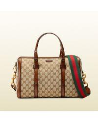 Gucci Lady Web Original Gg Canvas Boston Bag - Lyst