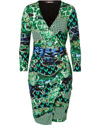 Roberto Cavalli Printed Jersey Dress In Black/Green - Lyst