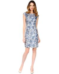 Kay Unger Abstract Print Sheath Dress - Lyst