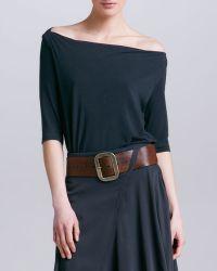 Donna Karan - Wide Leather Belt Henna - Lyst