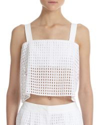 3.1 Phillip Lim Bandeau-Insert Sheer Cotton Eyelet Cropped Top - Lyst