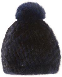 Pologeorgis - The Knit Mink Navy Hat With Fox Pompom - Lyst
