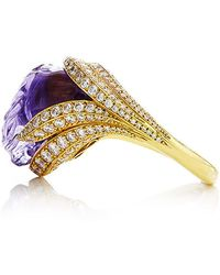 Nicholas Varney - One Of A Kind Amethyst And Diamond Conch Pearl Ring - Lyst