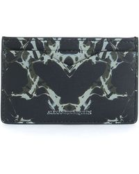 Alexander McQueen Abstract-Print Leather Card Case black - Lyst