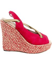 Charlotte Ronson Josephine Sling Back Espadrille Wedge In Red Stripe pink - Lyst