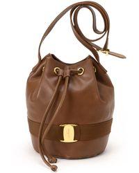 Ferragamo Brown Vara Shoulder Bag - Lyst