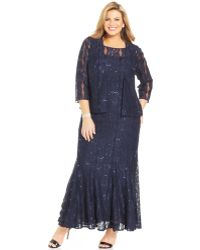 Alex Evenings Plus Size Sequin Lace Gown And Jacket - Lyst
