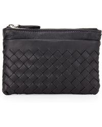 Bottega Veneta Zip-Top Woven Leather Key Pouch - Lyst