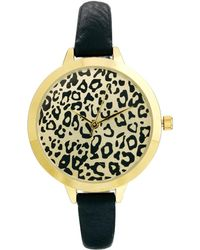 Asos Animal Print Large Face Slim Strap Watch - Lyst