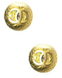 Chanel Preowned Gold Cc Vintage Button Clip On Earrings - Lyst
