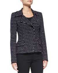 Rena Lange Modified Double-Breasted Tissue Tweed Jacket - Lyst