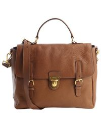 Prada Brandy Brown Textured Leather Satchel - Lyst