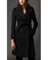 Burberry Leather Trim Wool Cashmere Trench Coat - Lyst