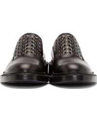 Jil Sander - Black Eyelet Accents English Loafers - Lyst