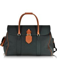 Pineider - Country Dark Grey Fabric And Brown Leather Travel Bag - Lyst