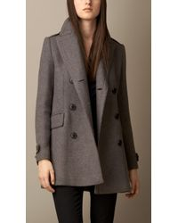 Burberry Oversize Pea Coat with Leather Undercollar - Lyst