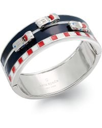 Kate Spade New York Silvertone Multicolored Enamel Race Car Hinge Bracelet - Lyst