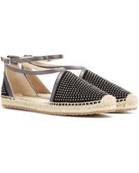 Jimmy Choo Donna Embellished Suede Espadrille Sandals black - Lyst