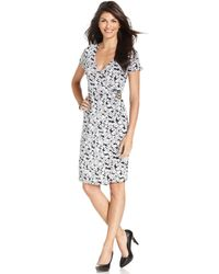Jones New York Signature Floralprint Fauxwrap Dress - Lyst