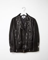 Acne Studios More Lightweight Leather Jacket black - Lyst