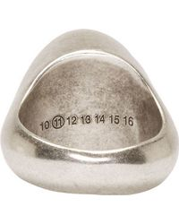 Maison Margiela Silver Distressed Round Ring - Lyst