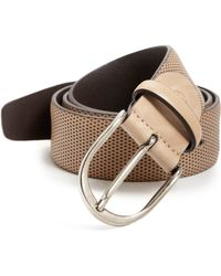 Canali Perforated Leather Belt beige - Lyst