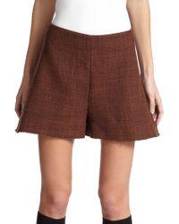 Marni Moulinè Wool High-Waist Shorts brown - Lyst
