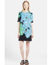 Marni Women'S Peony Print Cotton Linen Shift Dress - Lyst
