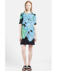 Marni Peony Print Cotton Linen Shift Dress - Lyst