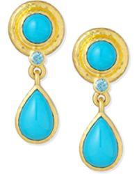Elizabeth Locke - 19k Turquoise Drop Earrings - Lyst