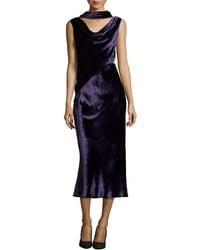 Jason Wu Velvet Dress With Draped Neckline purple - Lyst