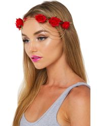 AKIRA - Dolce Vita Red Floral Headpiece - Lyst