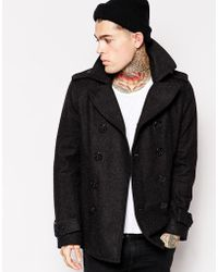 Diesel W-Champ Pea Coat Wool Double Breasted gray - Lyst