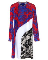 Carven Red Blue Lace Dress - Lyst