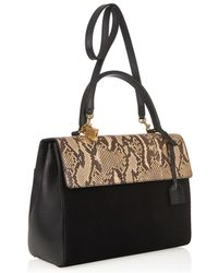 Saint Laurent Moujik Snakeskin, Suede And Leather Tote - Lyst