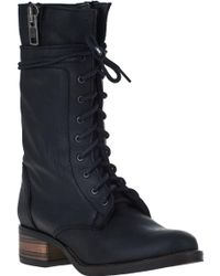 Steve Madden Battell Lace-Up Boot Black Leather black - Lyst
