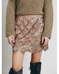 Free People Scallop Embellished Mini - Lyst