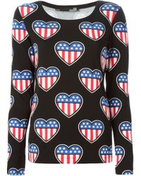 Love Moschino American Flag T-Shirt - Lyst