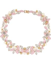 River Island Gold Tone Pink Stone Short Necklace - Lyst