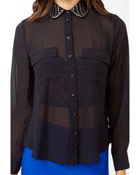 Forever 21 Beaded Collar Shirt - Lyst