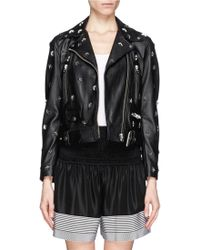 Acne Mape Studded Belted Leather Jacket - Lyst