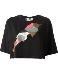 MSGM Bird Print Cropped T-Shirt - Lyst