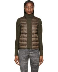 Moncler Olive Quilted Down Jacket - Lyst