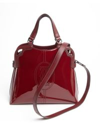 Cartier Bordeaux Patent Leather Convertible Top Handle Bag - Lyst