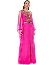 Amanda Wakeley - Hot Pink Embellished Caftan With Self-Belt - Lyst