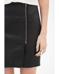 Love 21 Quilted Faux Leather Skirt - Lyst