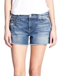 7 For All Mankind Cut-Off Denim Shorts - Lyst
