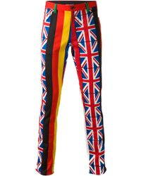 Moschino Flag Print Skinny Trousers multicolor - Lyst