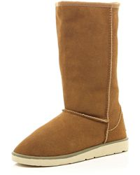 River Island Brown Faux Fur Lined Suede Boots - Lyst
